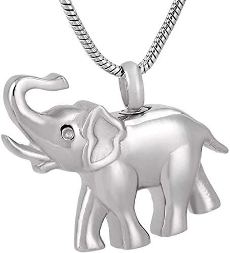 QQJJSUDIW Collar De Recuerdo De Cenizas Conmemorativas Elefante Memorial Urn Collar Hombres Mujeres Acero Inoxidable 316L Recuerdo Cremación Colgante Cenizas De Animales