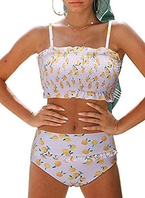 Dokotoo Women Female Push Up High Waist Strapless Lemon Printed Smocked Padded Fashion Bikini Sets Swimsuits Two Pieces Bathing Suit Swimwear with Bottoms White Large