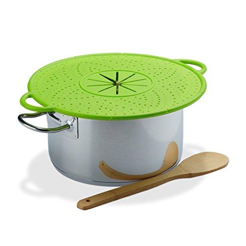 Relaxdays Überkochschutz Silikon, Spritzschutz & Untersetzer für Töpfe, hitzebeständig, pflegeleicht, 30 cm Ø, grün
