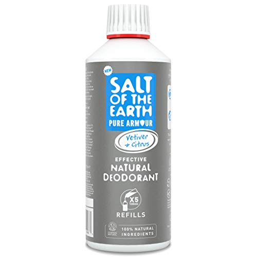 Salt of the Earth Pure Armour Recharge de Déodorant naturel pour homme - protection durable, végétalienne, certifiée Leaping Bunny - fabriqué au Royaume-Uni - 500 ml