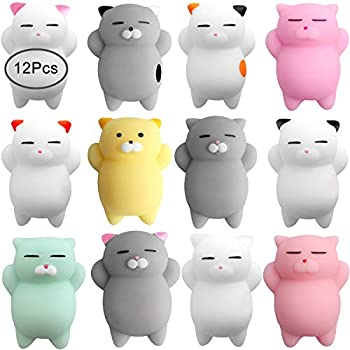 Outee 12 Pcs Mochi Animals Toys Mochi Cat Stress Relief Toys Mochi Animals Party Favors for Kids Mini Animals Cat for Kids Adults