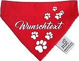 KLEINER FRATZ Hunde Durchzugstuch (Fb: rot-Fuchsia/rot) (Gr.L - 28 x 20 cm) mit Ihrem Wunschtext
