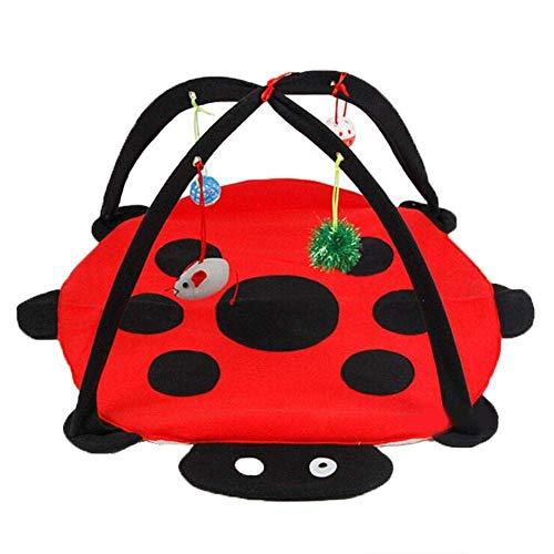 Fablcrew 1 alfombra de juego y actividades móviles para gato, cama acolchada con juguete para colgar, campana, pelotas y ratón