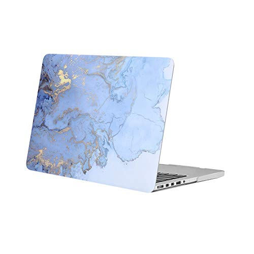 MOSISO Plastic Watercolor Marble Hard Shell Case Only Compatible with Older Version MacBook Pro Retina 13 inch (Model: A1502 & A1425)(Release 2015-end 2012), Blue