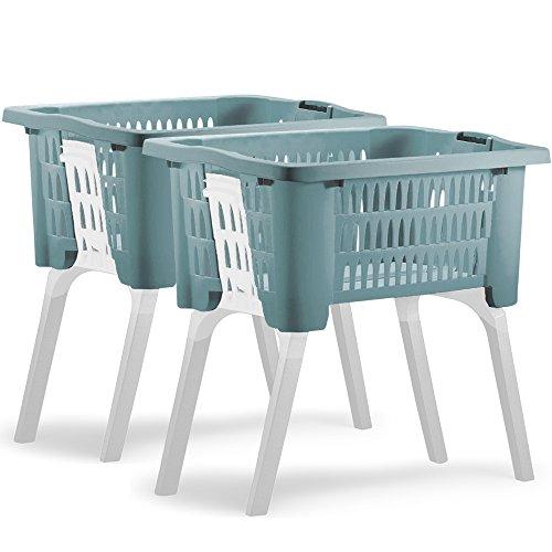 Deuba 2X Cestas para la Ropa con Patas desplegables 60x40x58cm de Plástico cesto para la Colada Capacidad 38L Azul