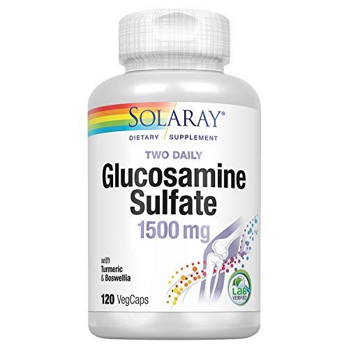 Solaray - Sulfato de Glucosamina Dois Diariamente 1500 mg - 120 Cápsulas vegetarianas