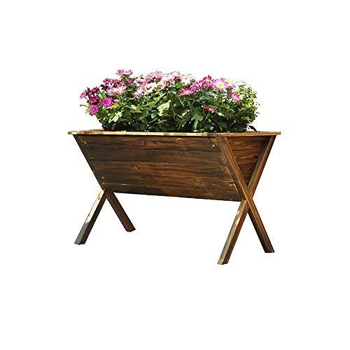 Pot De Fleurs/Jardinière - Jardinières en Bois - Jardinière pour Plantes en Plastique - Bac À Fleurs Carbonisé Bac À Fleurs en Bois - Bac À Fleurs Extérieur Et Balcon Pot de Jardinage