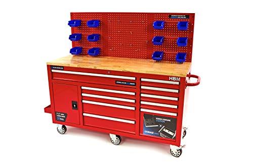 Profi Werkstattwagen rot - Werkstattschrank 158 cm 10 Schubladen Werkbank mit Tür und Rückwand - Arbeitsplatte aus Massivholz, 3 cm stark, Profi fahrbare Werkbank mit Schubladen