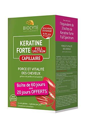 Biocyte - Kératine Forte Full Spectrum - Complément alimentaire à la kératine, extraits de luzerne et de prêle, vitamine et minéraux 120 Gélules - 3 x 26 g