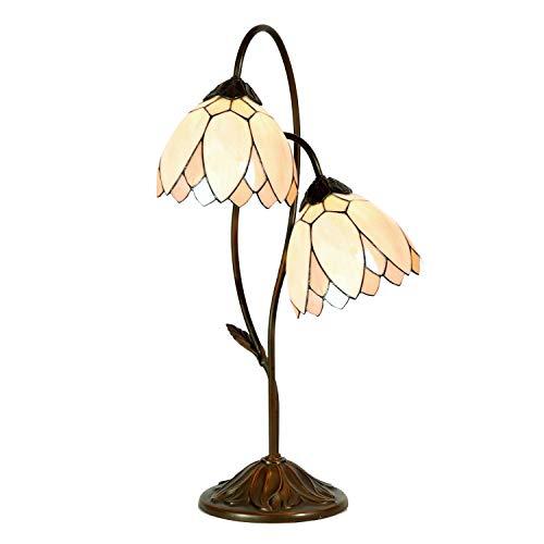 Lumilamp Tiffany Lampe, Tischleuchte, Buro Leuchte, Glas, Mehrfarbig, 33 x 61 cm