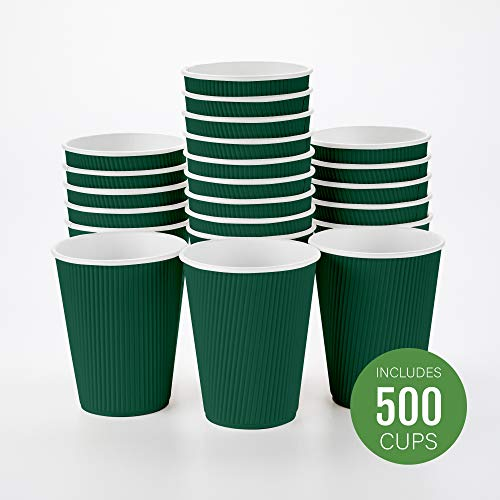 Disposable Paper Coffee Cups Insulated with Lids and Sleeves 12 oz 50 count