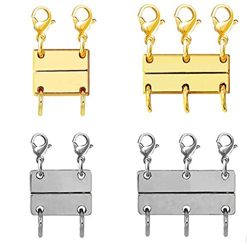 Gergxi Práctico cierre magnético de joyería para collares y cierres de collar, convertidores magnéticos para hacer pulseras, collares, oro+astilla