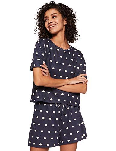 Amazon Brand - Eden & Ivy Women's Relaxed Pyjama Set (FWUTSTP02-GP-04_Navy_L)