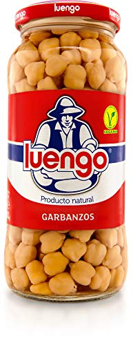 Luengo Garbanzos Finos Cocidos (Cooked Chickpeas) Glass Jar 570g Spain