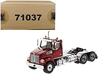 New Western Star 4700 SF Tandem Day Cab Tractor Metallic Red 1/50 Diecast Model by Diecast Masters