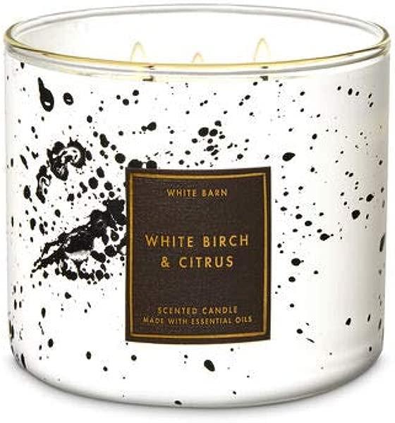 沐浴和身体工厂白色谷仓白色桦树柑橘 3 灯芯蜡烛 14 5 盎司