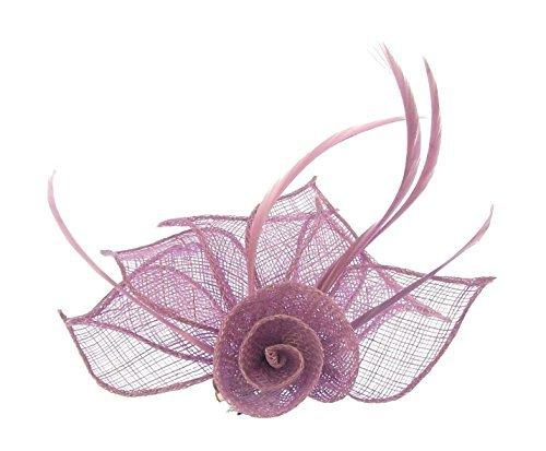 Superbe Lilas en toile de jute Chapeau avec cheveux clip et broche, les mariages, les courses