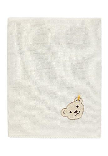 Steiff Baby-Mädchen Decke Strick Schlafsack, Weiß (Egret|White 1020), One Size (Herstellergröße: 00)