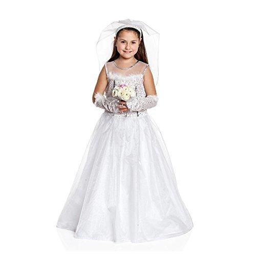 Kostümplanet® Braut-Kostüm Kinder Mädchen mit Schleier Kinder-Kostüm Braut-Kleid Hochzeitskleid Fasching Größe 128