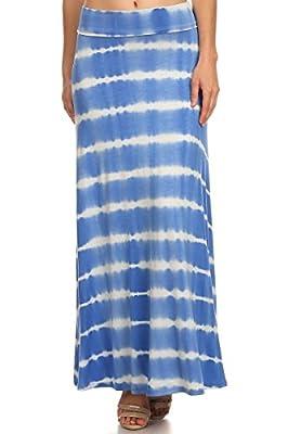 ReneeC... Women's Tie Dye Striped Soft Foldover Maxi Long Skirt - Made in USA