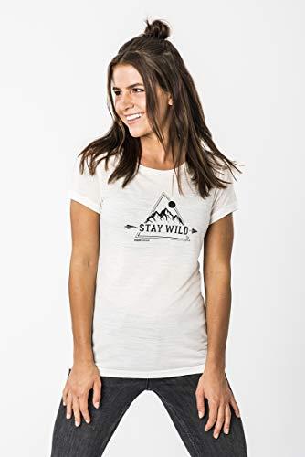 super.natural Bequemes Damen T-Shirt, Mit Merinowolle, W PRINT TEE, Größe: S, Farbe: Weiß/Schwarz