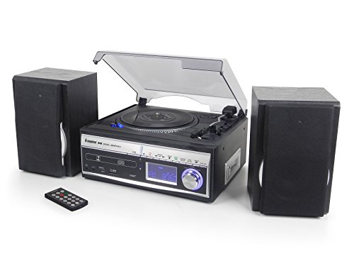 Steepletone Memphis 5-in-1 Music System - 3 Speed Turntable / CD Player / DAB/Analogue FM Radio / USB/SD MP3 Player / Cassette Player / Vinyl to MP3 / Cassette to MP3 / Radio to MP3 Recorder (Silver)