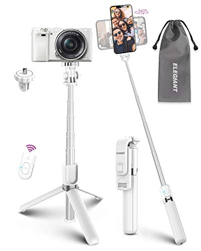 Selfie Stick Tripod, ELEGIANT Lightweight Aluminum All in One Extendable Selfie Stick Bluetooth with Remote Compatible with iPhone 12/12 Pro/XS Max/11/XS/XR/8P, Galaxy S20/S10/S9, Gopro, Small Camera