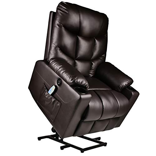 Electric Power Lift Recliner Chair for Elderly with Massage and Heat Vibration with Remote, PU Leather Recliner Chair for Home Theater Seating, Living Room (Brown)
