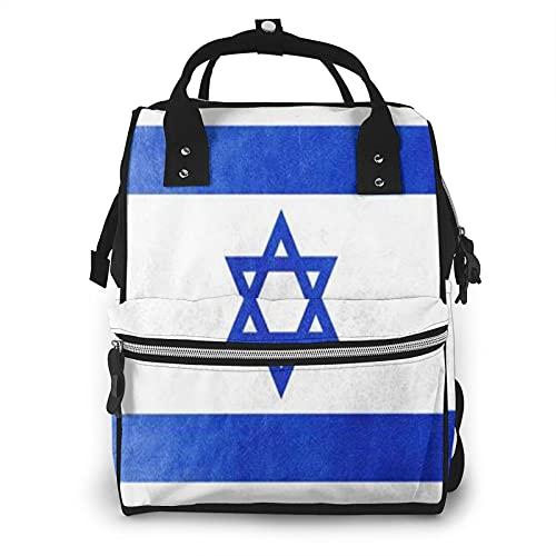 Bandera de Israel en textura de cuero de gran capacidad multifunción momia mochila bebé pañales bolsas para el cuidado del bebé