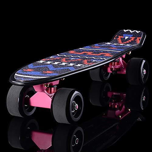 XLY Skateboard 22 inch voor kinderen, beginners, kunststof, antislip, deck voor jongens en meisjes