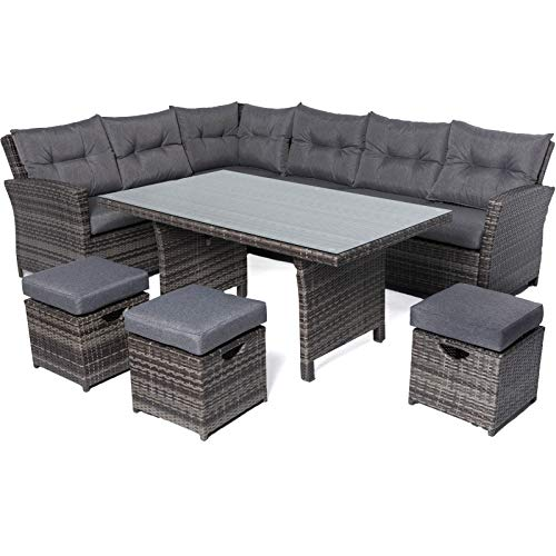 Mayfair Premium 6-9 Seater Rattan High Back Corner Sofa Dining Set - Grey