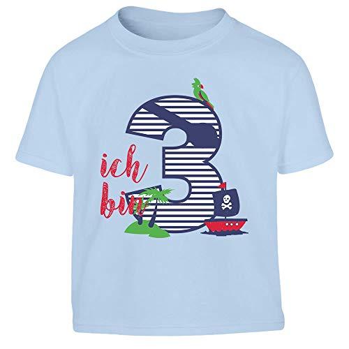 Shirtgeil Ich bin DREI Geschenk Geburtstag Kleinkind Kinder T-Shirt Junge 104 Hellblau