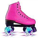 Patins À roulettes Quad Rollers Skates avec 4 Illuminées Transparent Roue Clignotantes Coloré Cuir Confortables pour Garçons Filles pour Intérieur Extérieur,Rose,43