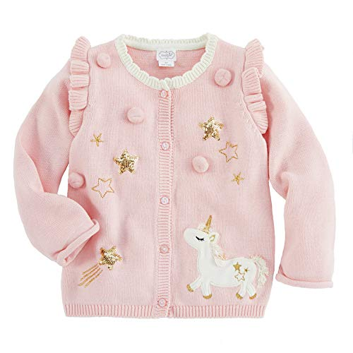 Price comparison product image Mud Pie Girls' Kids Baby Magical Unicorn Dreams Cardigan Sweater,  Pink