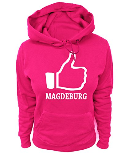 Artdiktat Damen Hoodie - I Like Magdeburg, Größe L, pink