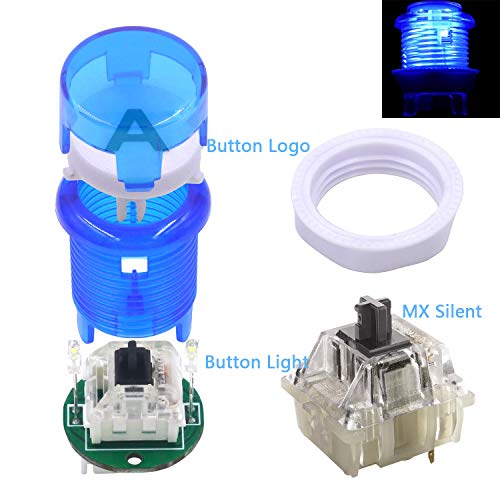 SJ@JX Arcade 2 Player Game Controller Stick DIY Kit LED Buttons with Logo MX Microswitch 8 Way Joystick USB Encoder Cable forPC MAME Raspberry Pi Color Mix