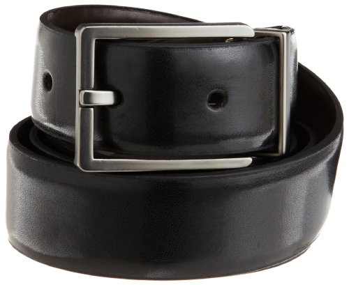 Calvin Klein Men's Smooth Leather Reversible Feather Edge Belt,Black/Brown,38