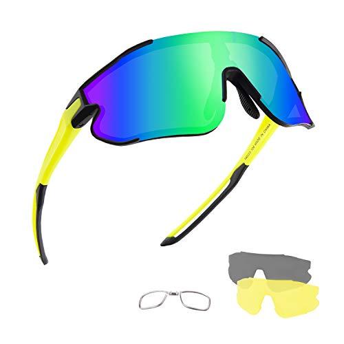 DUDUKING Occhiali da Ciclismo Polarizzati Uomo Donna, Occhiali da Sole Sportivi, Anti-UV con 3 Lenti Intercambiabili per Corsa Pesca Arrampicata (Nero Verde)