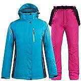UJDKCF Traje de esquí Caliente Gruesa para Hombres y Mujeres Traje de esquí y Pantalones de Chaqueta de Snowboard q3 L