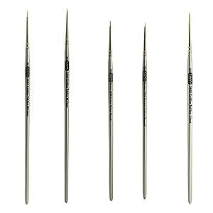 ZEM Brush Golden Taklon Mini Detail Brush Set Liner 20/0, Mini Liners 20/0, 10/0, Details 10/0, 5/0