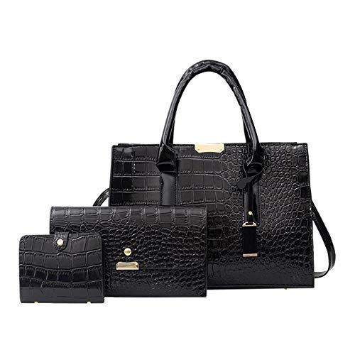 3Pcs Women Alligator Shoulder Bags Luxury Fashion Women s Outdoor Solid Color Three Piece Leather Handbag Clutch bolsas de Mujer Black