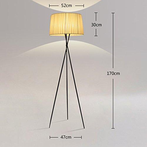 LightSei- Art Chambre de lit Chambre à coucher Salon Simple moderne Lampe de plancher Creative Tissu Trois Feet Lampadaire (Couleur : Blanc)
