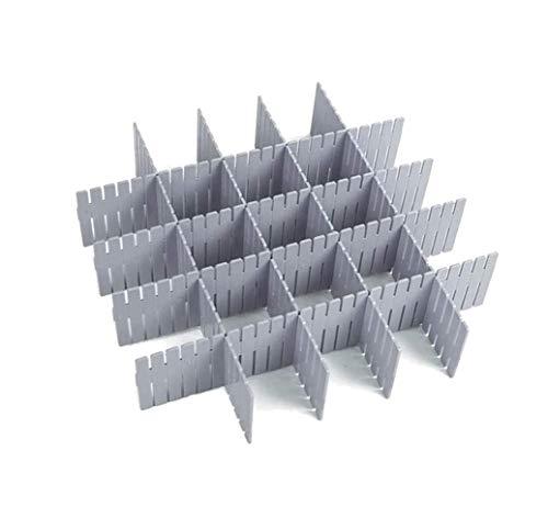WeFoonLo 8pcs DIY Organizador de plástico del cajón divisores Ajustables del cajón para el Armario ordenado casero, Materiales Escolares de la Escuela, Utensilios de Cocina (Gris)
