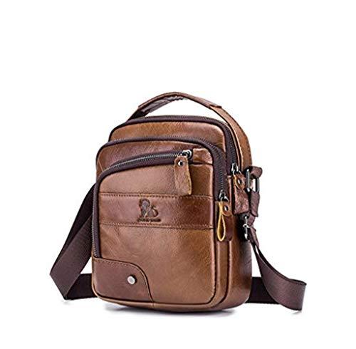 Bolso de Bandolera,Popoti Hombres Bolso de Hombro Cuero Crossbody Escuela Billetera Mochila Bolsa de Mensajero Pequeño Tarjetas Bag 18cm (Marrón)