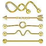 AceFun 14G 5Pcs Or Piercing Industriel Barbells Acier Chirurgical Industriel Barres Piercing Spirale Piercing d'Oreill Bijoux de Piercing 38mm 35mm