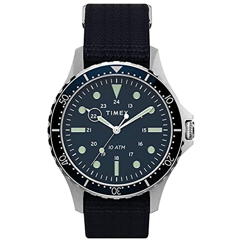 Timex Men's Navi XL 41mm Stainless Steel Quartz Fabric Strap, Blue, 20 Casual Watch (Model:...