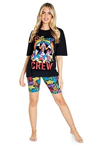Disney Pijamas Mujer Verano, Pijama Mujer De Manga Corta con Mickey Y Minnie Mouse, Ropa Mujer De Algodón XS-2XL (Negro, L)