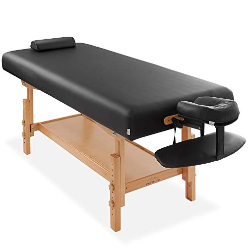 Saloniture Professional Stationary Massage Table - Includes Shelf, Headrest, Face Cradle and Bolster - Black