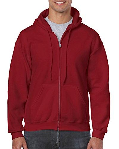 Gildan Men's Fleece Zip Hooded Sweatshirt Cardinal Red Medium
