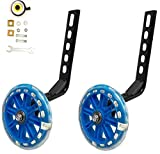 YJIA a Pair of Bicycle Mute Training Wheels for 12 14 16 18 20 inch Single Speed Bicycle stabilizer (Blue)